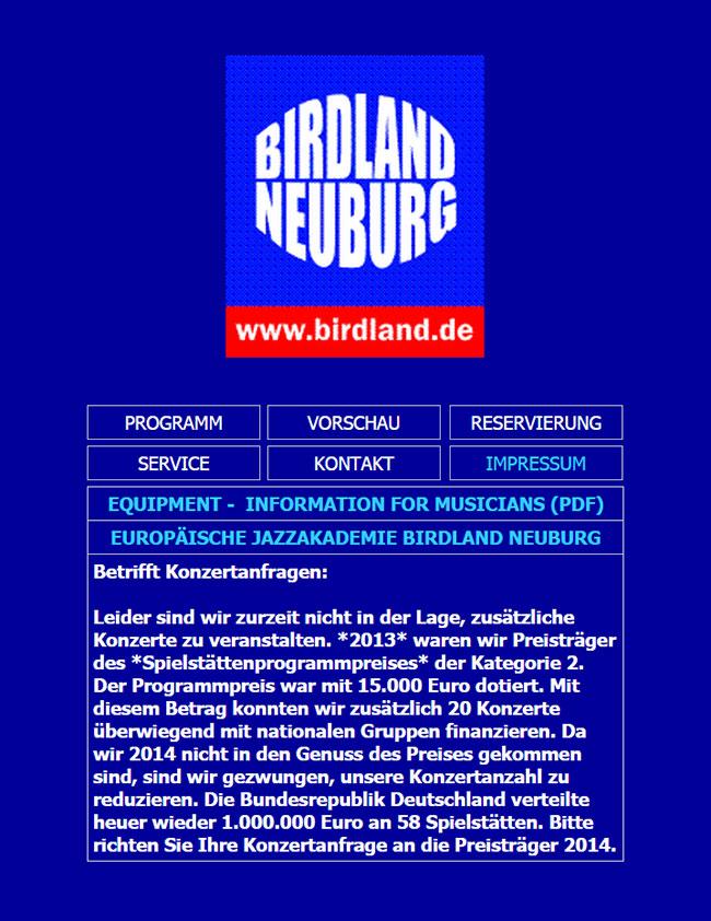 Birdland Neuburg - ohne Spielstättenpreis 2014