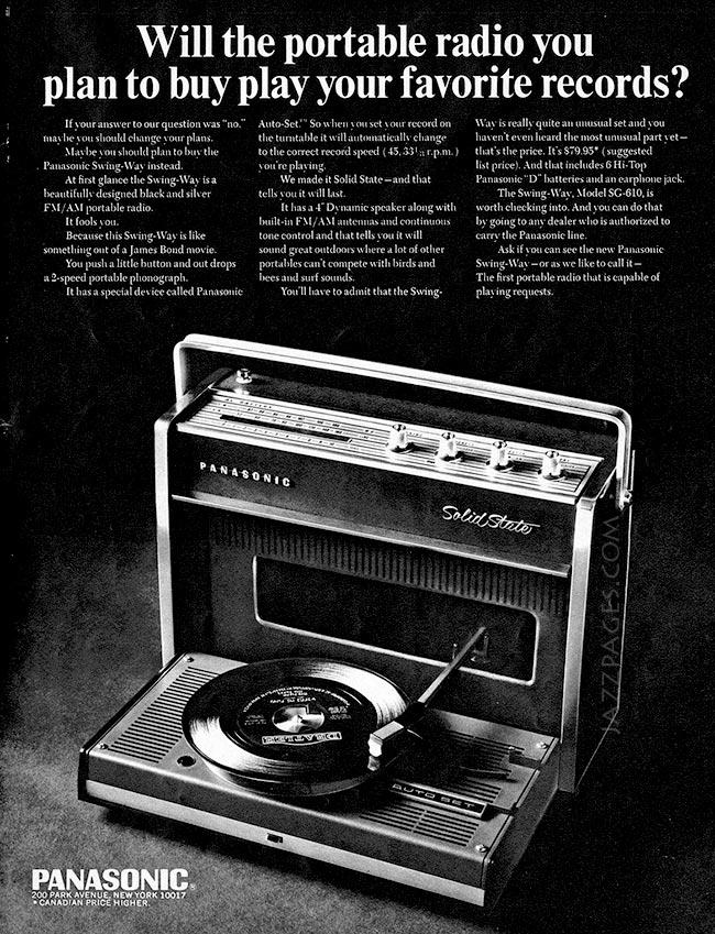 Tragbarer Plattenspieler - Panasonic Werbeanzeige